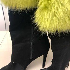 Cape Robbin Faux Fur Topped Suede Stilettos 81/2